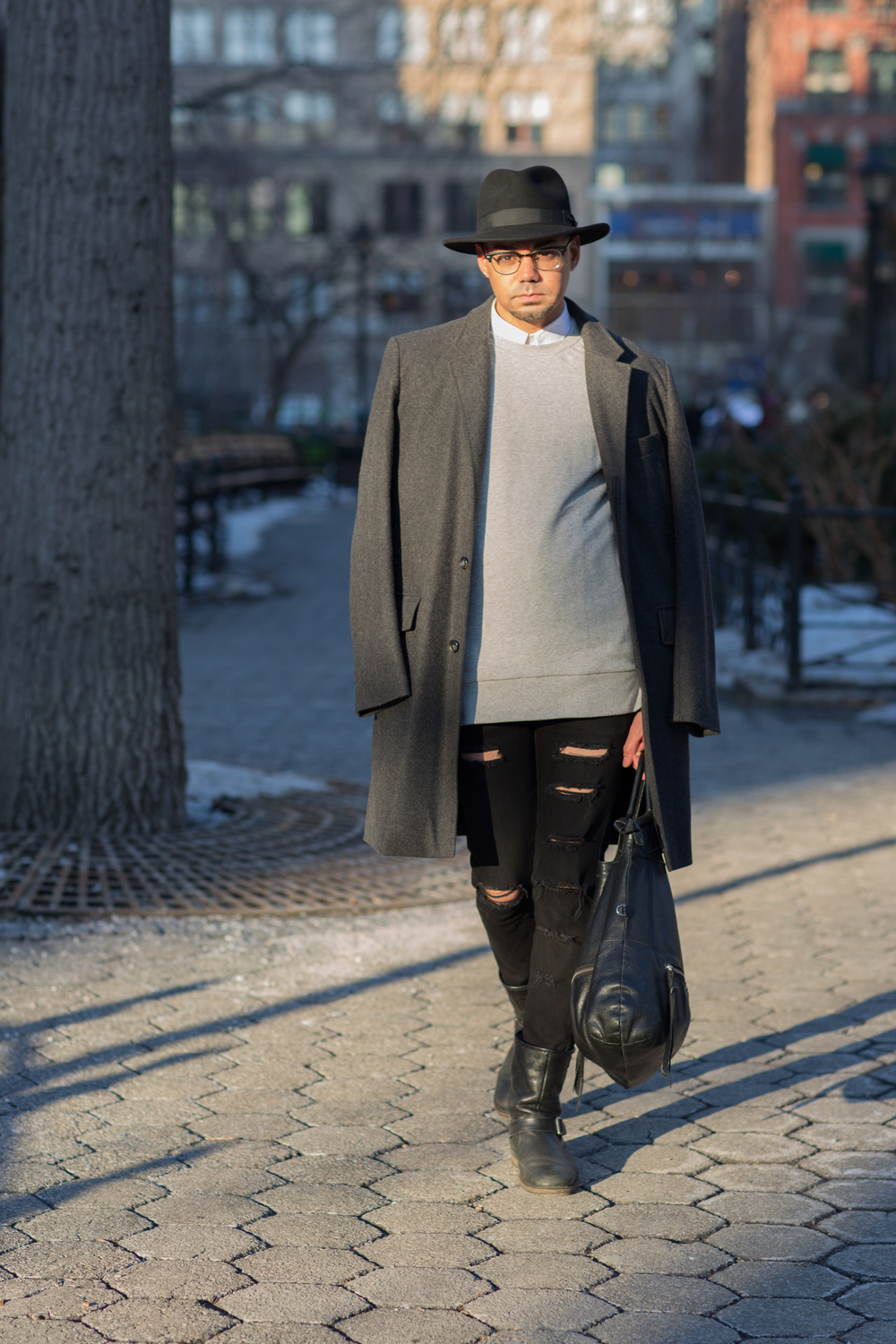 Overcoat: Retro Calvin Klein Collection; Sweater & Woven: Zara; Denim: Customized H&M; Boots: Aldo; Bag: Foley & Corinna