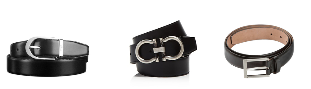 Tumi Horseshoe Revs Belt  - $95    Salvatore Ferragamo Revs Belt  - $395    Lanvin Calf Belt  - $390