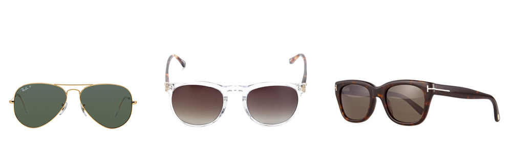 Ray-Ban Aviators - $199   Linda Farrow Square Frame - $500   Tom Ford Acetate Frame - $404