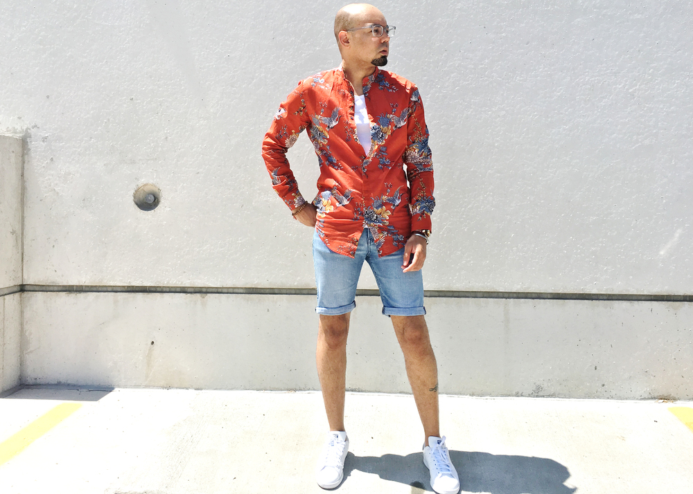 sam-c-perry-printed-Mandarin-collar-woven-denim-shorts-main.jpg