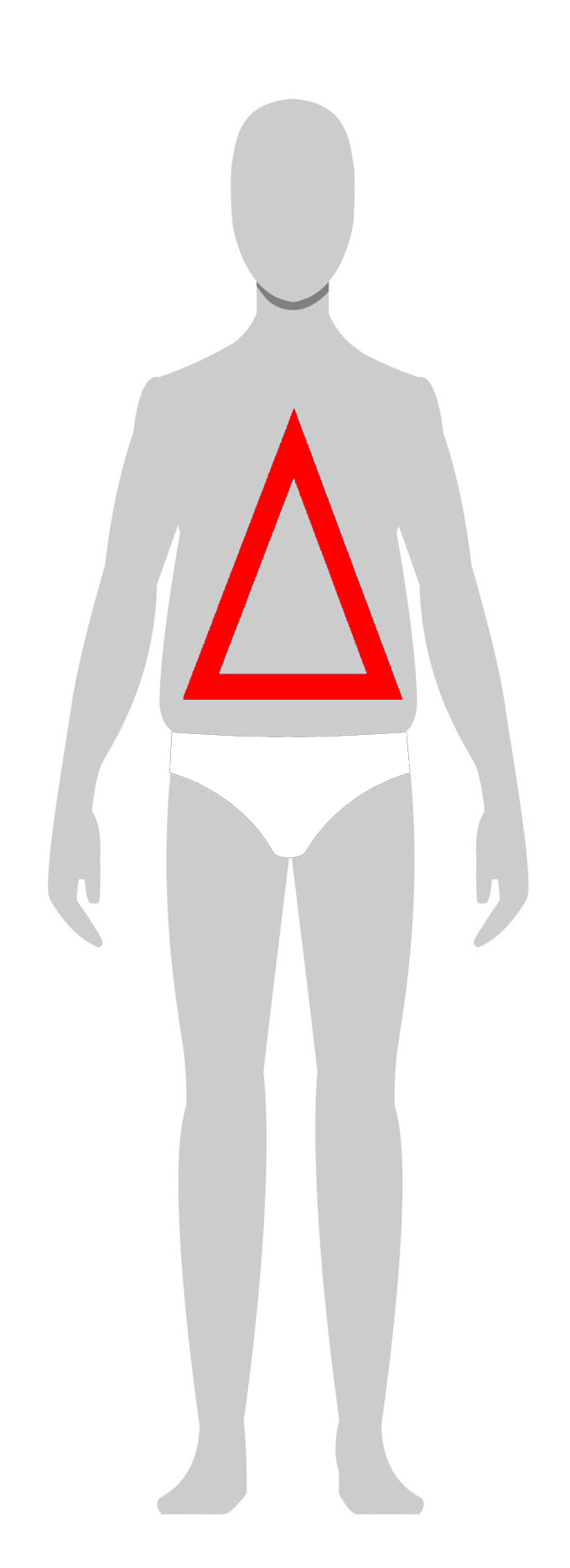 Triangle - • Large Midsection• Narrow Shoulders• Slimmer leg than upper body• Light to no muscle definition