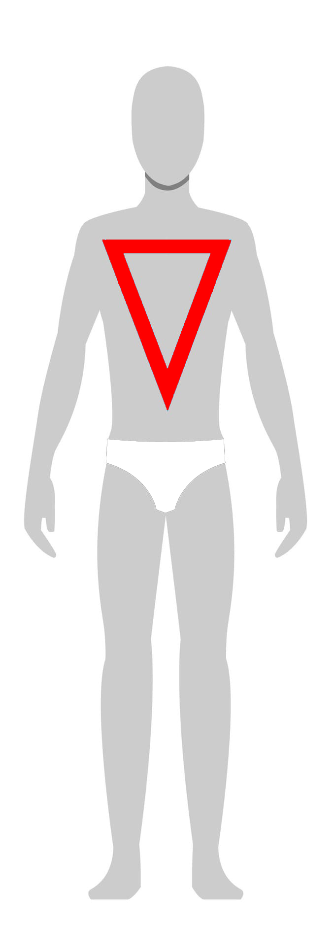 Inverted Triangle - • Athletic• Moderate to heavy muscle definition• Narrow, defined waist• Muscular arms and legs• Broad chest