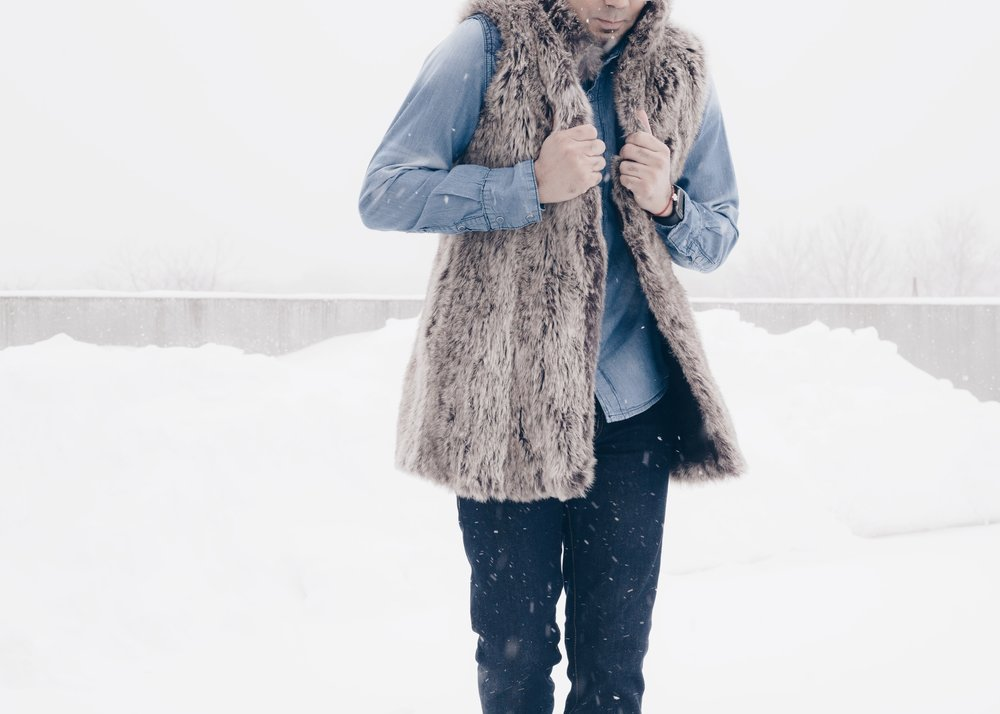 Fur Vest + Denim on Denim -