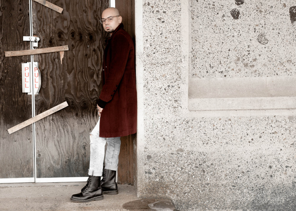 Vintage Calvin Klein Coat + Distressed Denim -