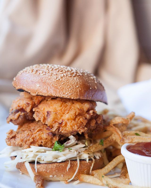 Epically stacked Buttermilk Fried Chicken Sandwich from our last shoot at @cafecluny. #yum #cafecluny
