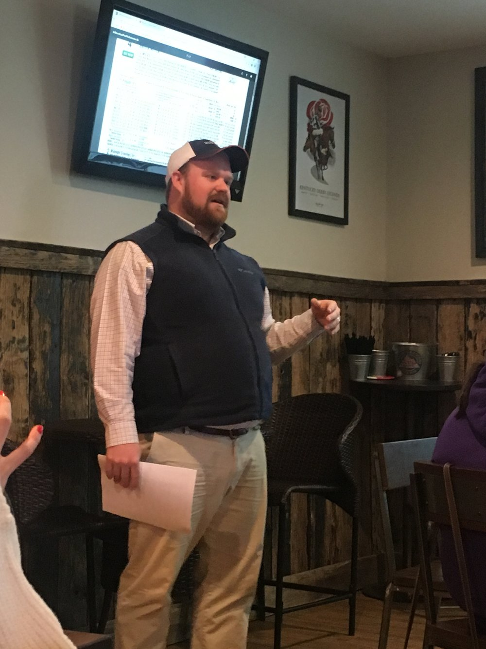Phillip Shelton leads Horse Country guests through the basics of handicapping at Daddy Joe's Bar & Grill on January 4, 2018.