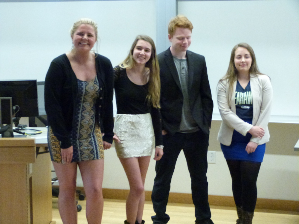 "Ali, Carly, Brad and Brynna in examples of unprofessional dress, dubbed ""The Neaux."""