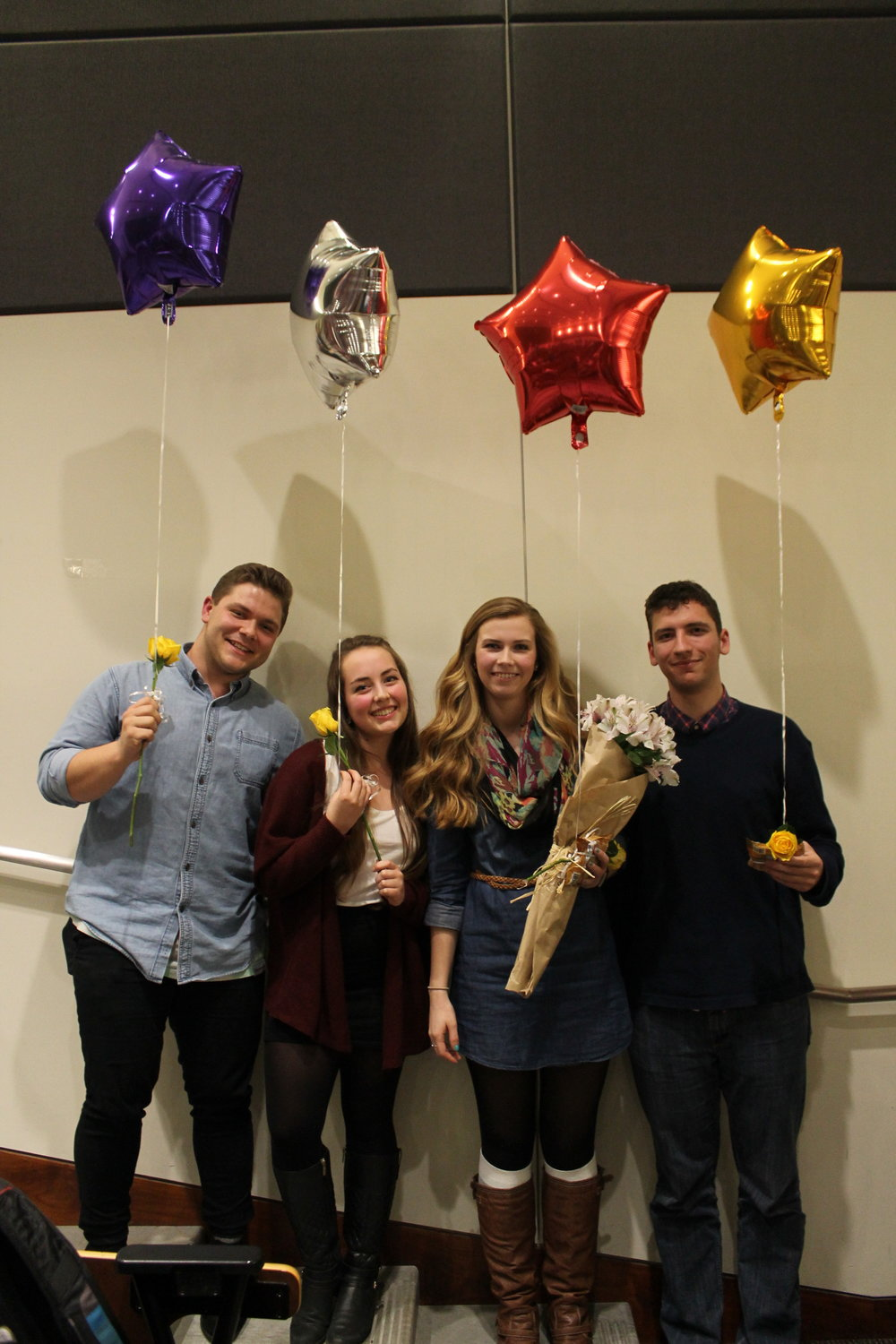 Our graduating seniors- the wonderful Cody Stephens,Brynna Mosely,Kristin Hanson, and John Perkins. Thank you all for your hard work and dedication to chapter!