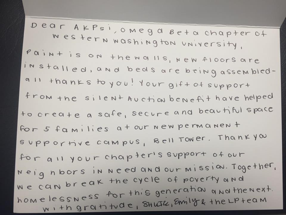"Handwritten ""Thank you"" letter from the Lydia Place team."