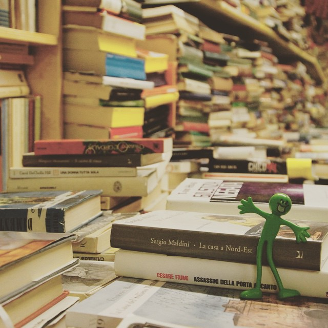 #leonard explored the only #bookshop in #venice that stores it's books in #boats. In case of the next high tide of course. What unique nooks have you found? #compasstales #travel #lifeote