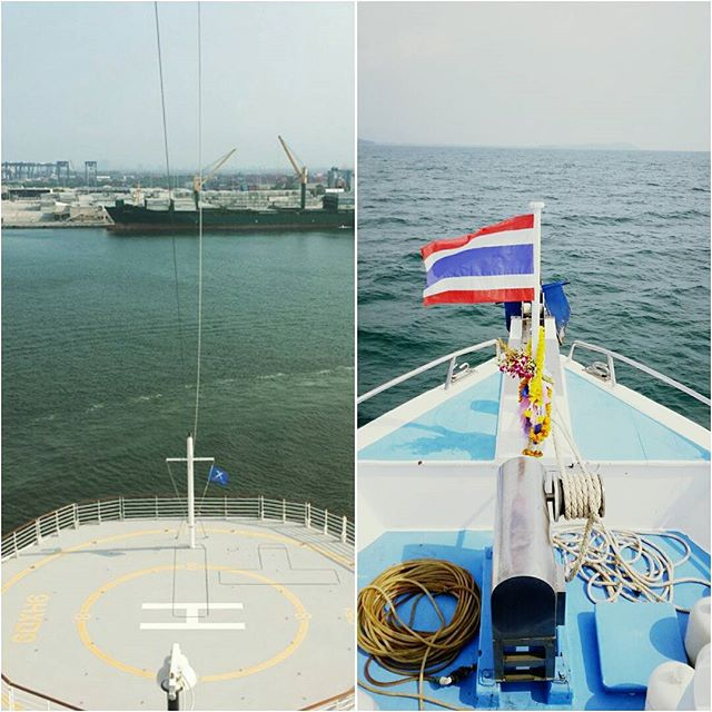 On the left the picture I took a year ago as we left U.S. soil. On the right the bow of the ship we were on in Thailand after spending 4 days diving. One year full circle. Start at sea to find ourselves at sea. #travel #sea #boat #liveaboard #thailand #celebrityequinox #travel #adventure #lifeote #lifeovertheedge