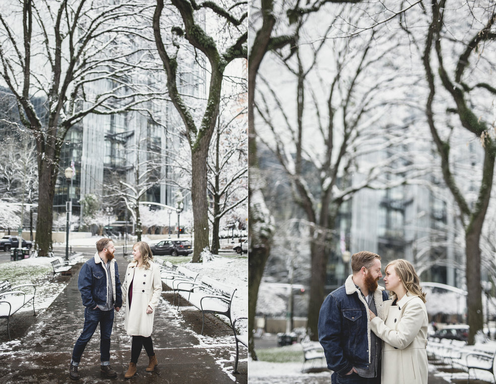 MacCoy Dean Photography Portland Oregon Wedding Photography Downtown Engagement Photoshoot In snow snowy city hall portlandia statue 1.jpg