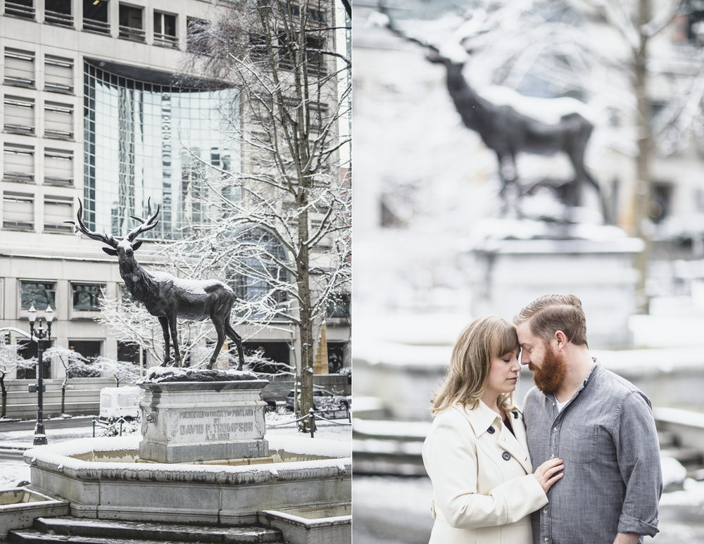 MacCoy Dean Photography Portland Oregon Wedding Photography Downtown Engagement Photoshoot In snow snowy city hall portlandia statue.jpg