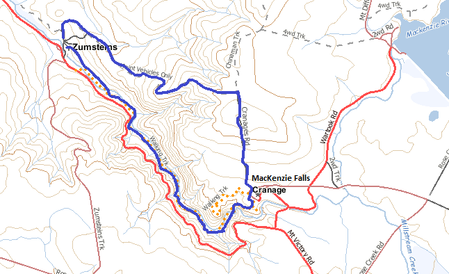 Map of the walk, the route is shown in blue. Scale: 1:25,000 (4 cm = 1 km.)