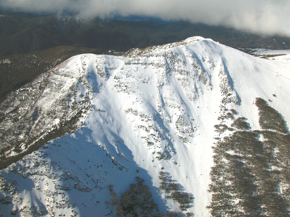 Aerial view of the Buller Chutes. Main Street is on the far left of the summit ridge. Photo John Eacott.