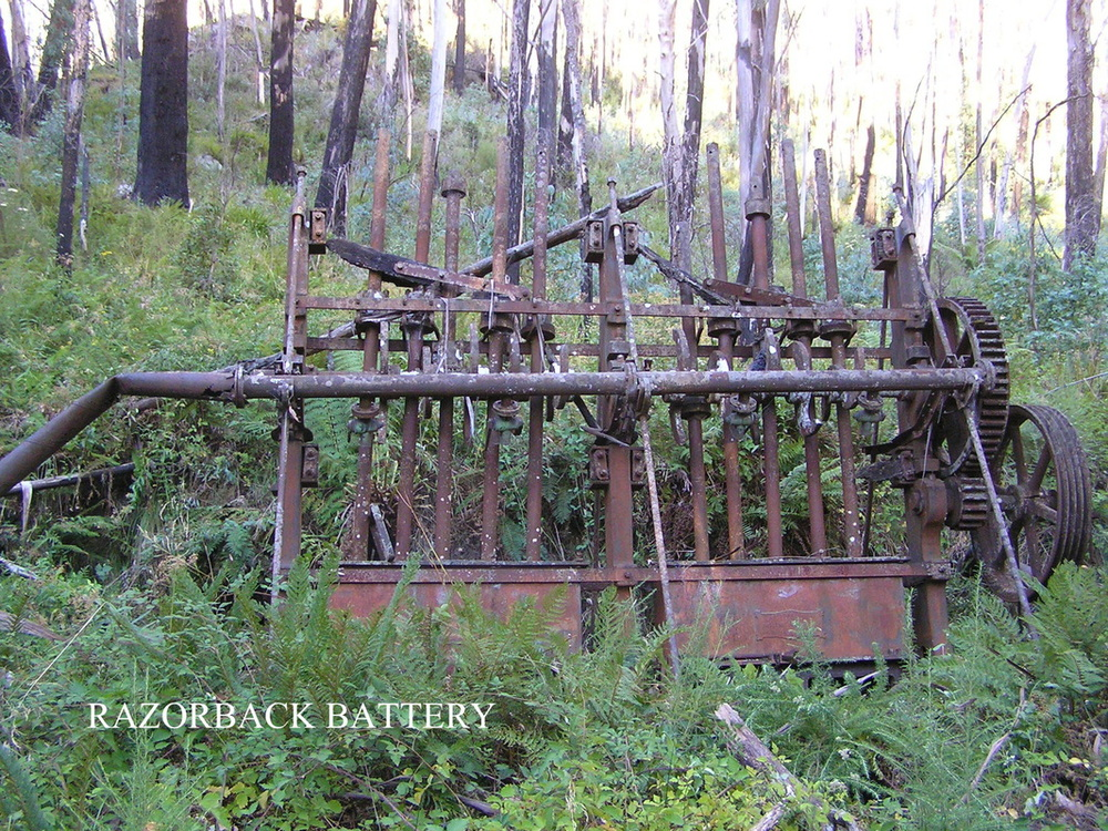 Battery used to crush ore at the Razorback Mine.  Photo from  Alpine Shire history