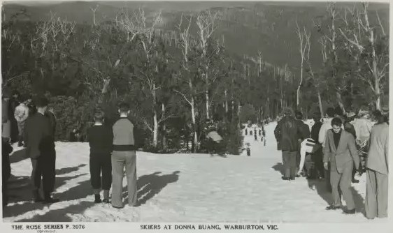 Non skiing 'visitors' walking on a ski run. Source:   NLA