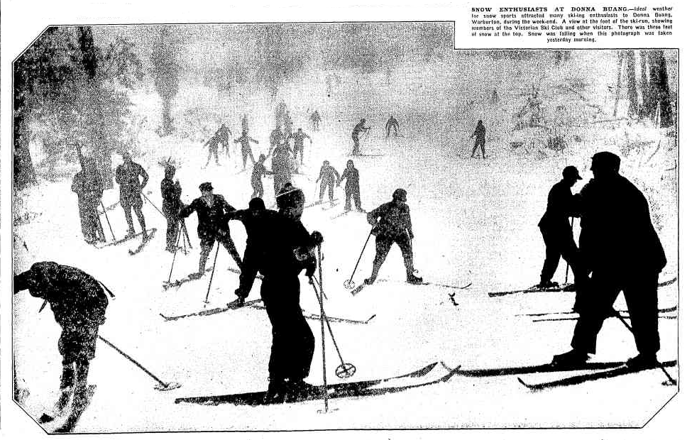 Skiers at the base of the Main Run at Donna Buang.  The Argus,  20 June 1932.