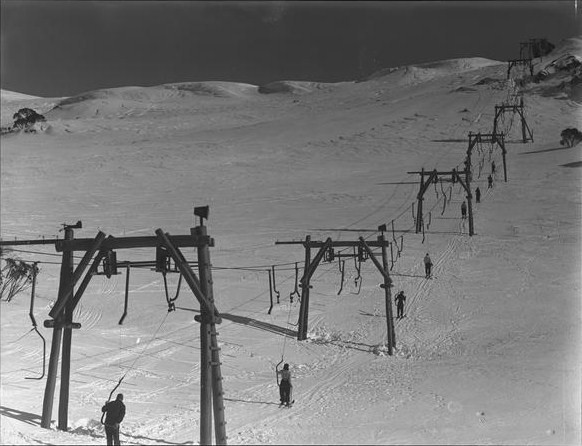 The 1938 - 1952 'Ski Hoist' (or 'Meat Hook') J-bar at Charlotte Pass, the first ski lift in NSW.