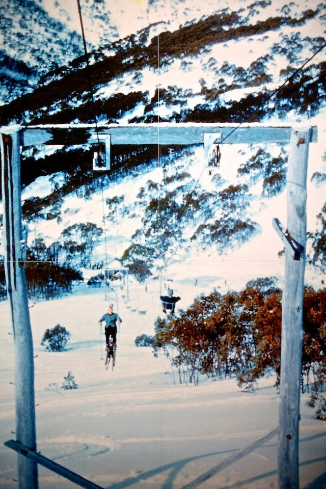 Australia's first chairlift. Bob Hyman's 1957 single chairlift at Falls Creek.