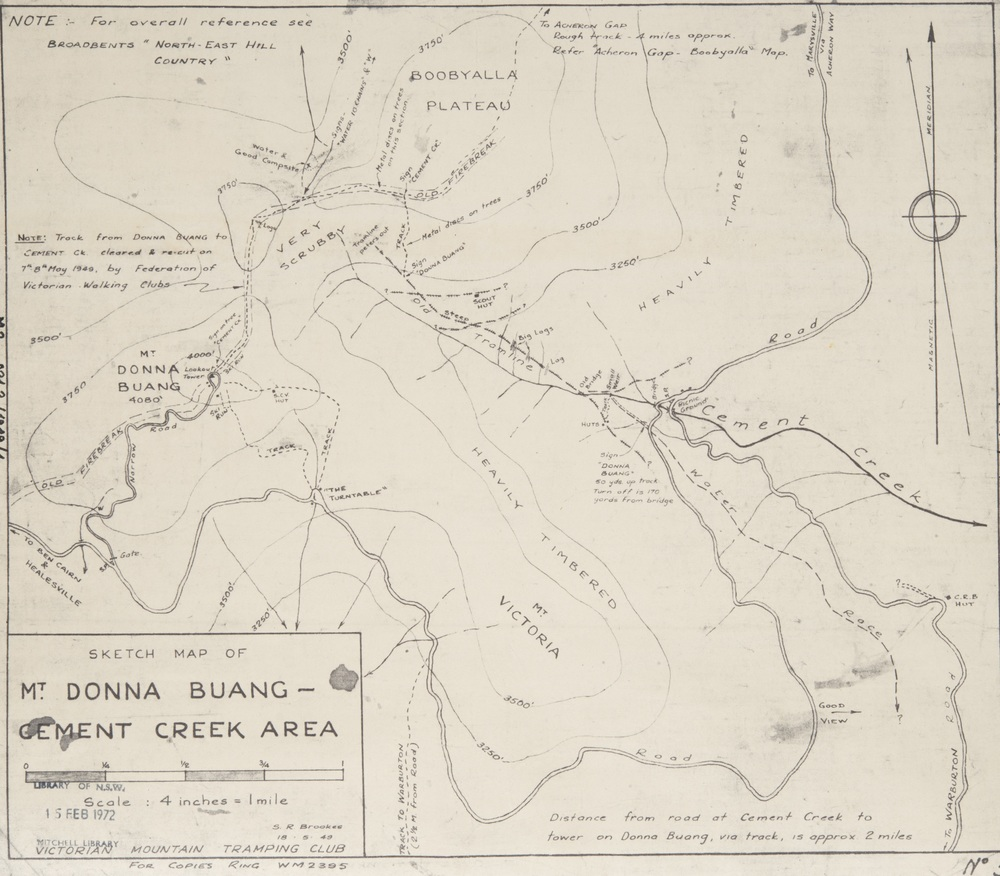 1949 map of Mt. Donna Buang.  ©  Stuart Brookes, used with his permission.   NSW State Library record  .