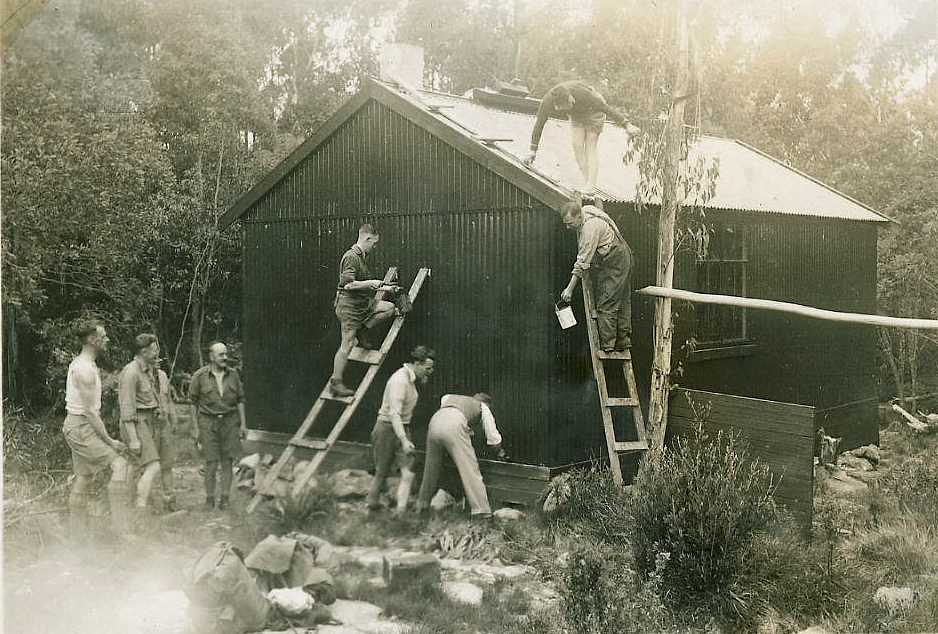 A 1934 work party at the first Melbourne Walking Club hut. Used with permission of MWC.