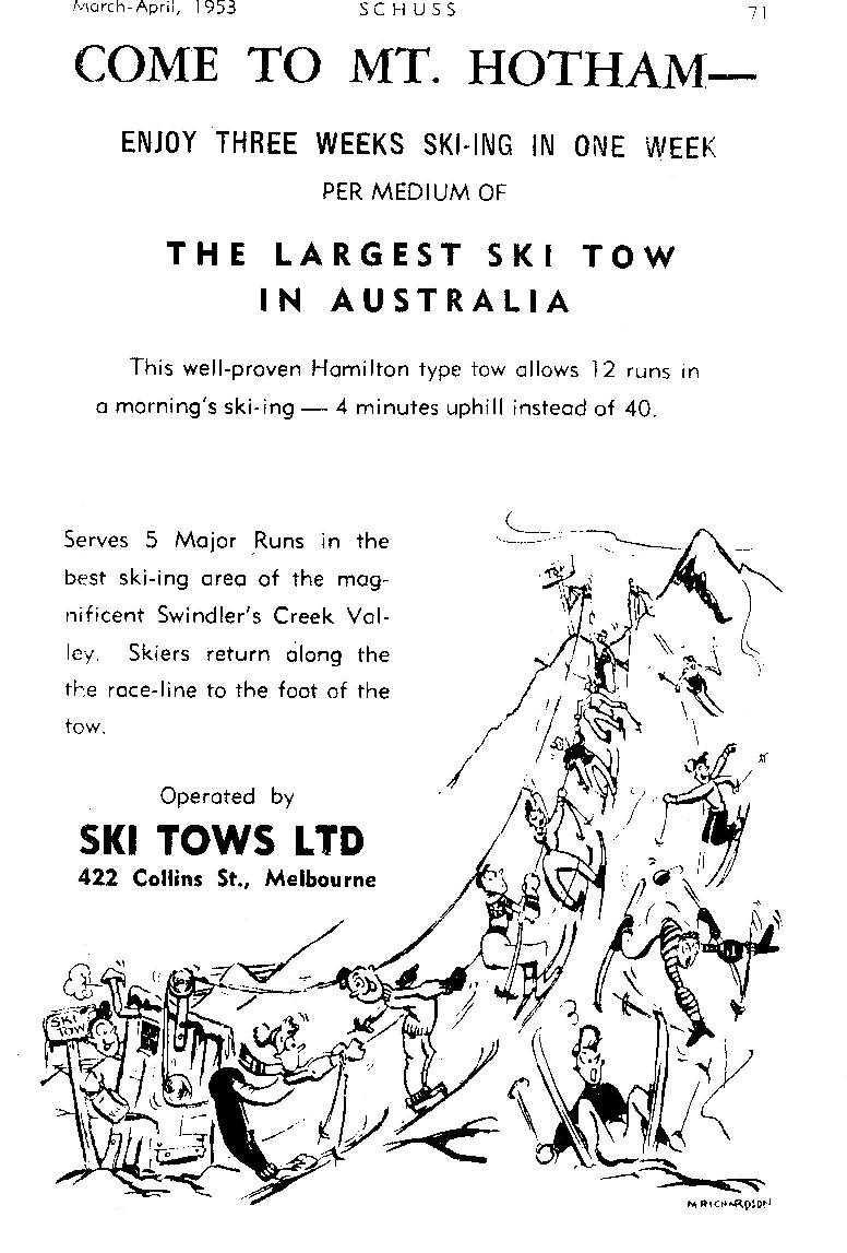 Advertisement for the Blue Ribbon nutcracker tow, the only lift at Hotham in 1953