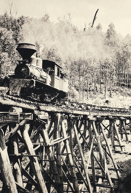 A Shay locomotive on a trestle bridge near The Bump tunnel.
