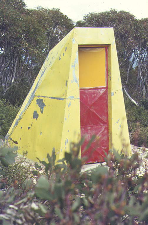Little MUMC Hut (the toilet). An equally radical statement as the main hut. Designed and built by Robert Vincent, burnt in the 2003 fires.