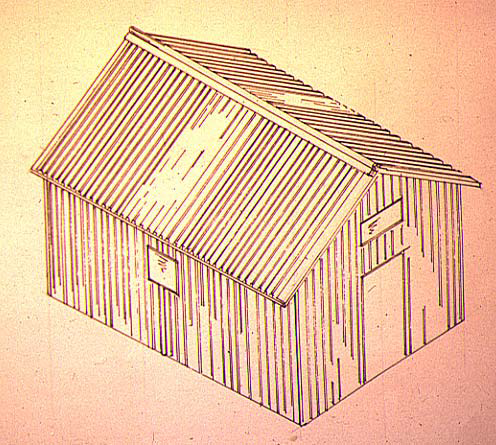 This is a sketch of the original proposal for a hut. It was based on the approximate size of the hut on the Bungalow Spur.  [Feathertop Hut built in 1912.]   However the internal framing was very different which would have resisted the tendency of the hut to lean over.