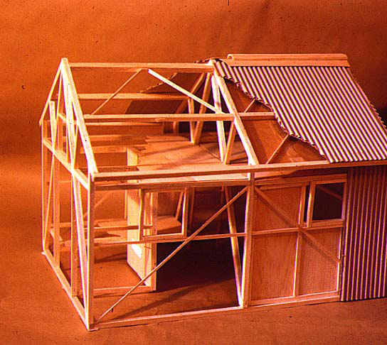 "This is a model where the internal ""A"" frames can be seen. This and another design was presented to a special meeting of the club where it was decided to do something more unique. This lead to the geodesic dome. This design was essentially used for the Federation hut (burnt down and replaced after the 2003 fires)."