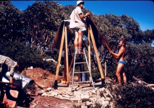 "Bob Vincent working on the ""Little Feathertop Hut""."
