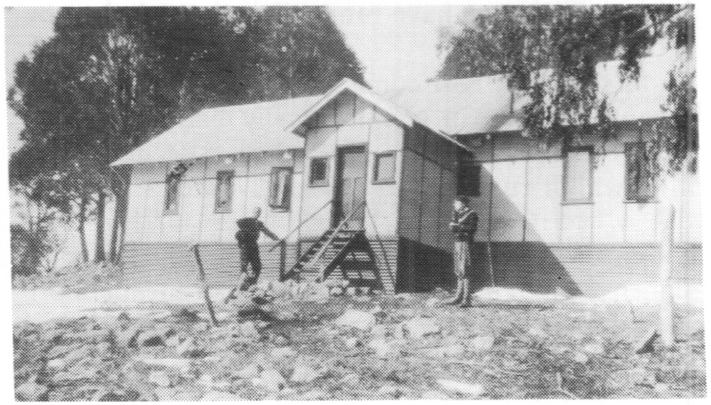 The Buller Chalet in 1933, a year after extensions. From: Lynette Sheridan. Shes and skis: golden years of the Australian Women's Ski Club 1932 - 1982. AWSC, 1983. p. 32.