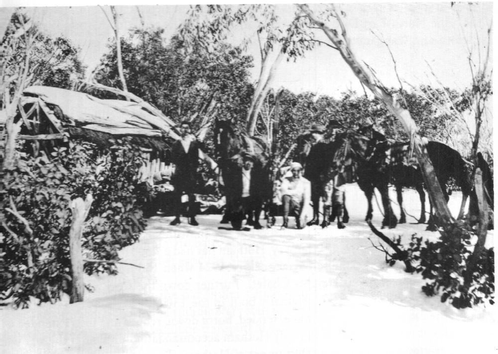 Lovick's cattlemens hut on Burnt Hut Spur. c.1919 - c.1925.