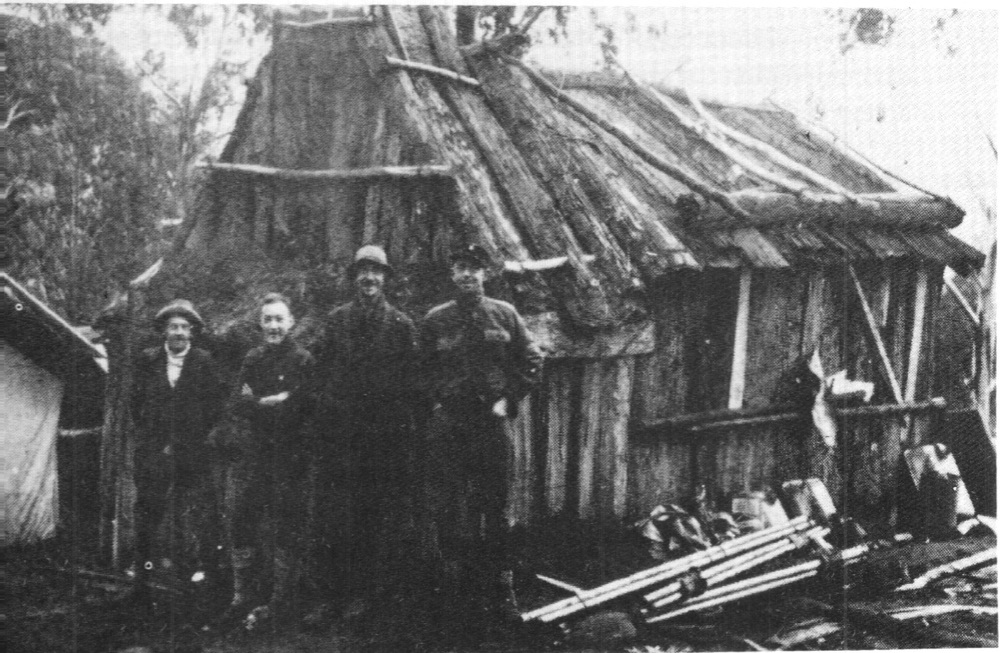 The c.1929 bark hut used as a base for building the Buller Chalet.