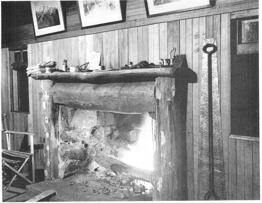 The University Ski Club cabin fireplace in action. Photo Warrand Begg.
