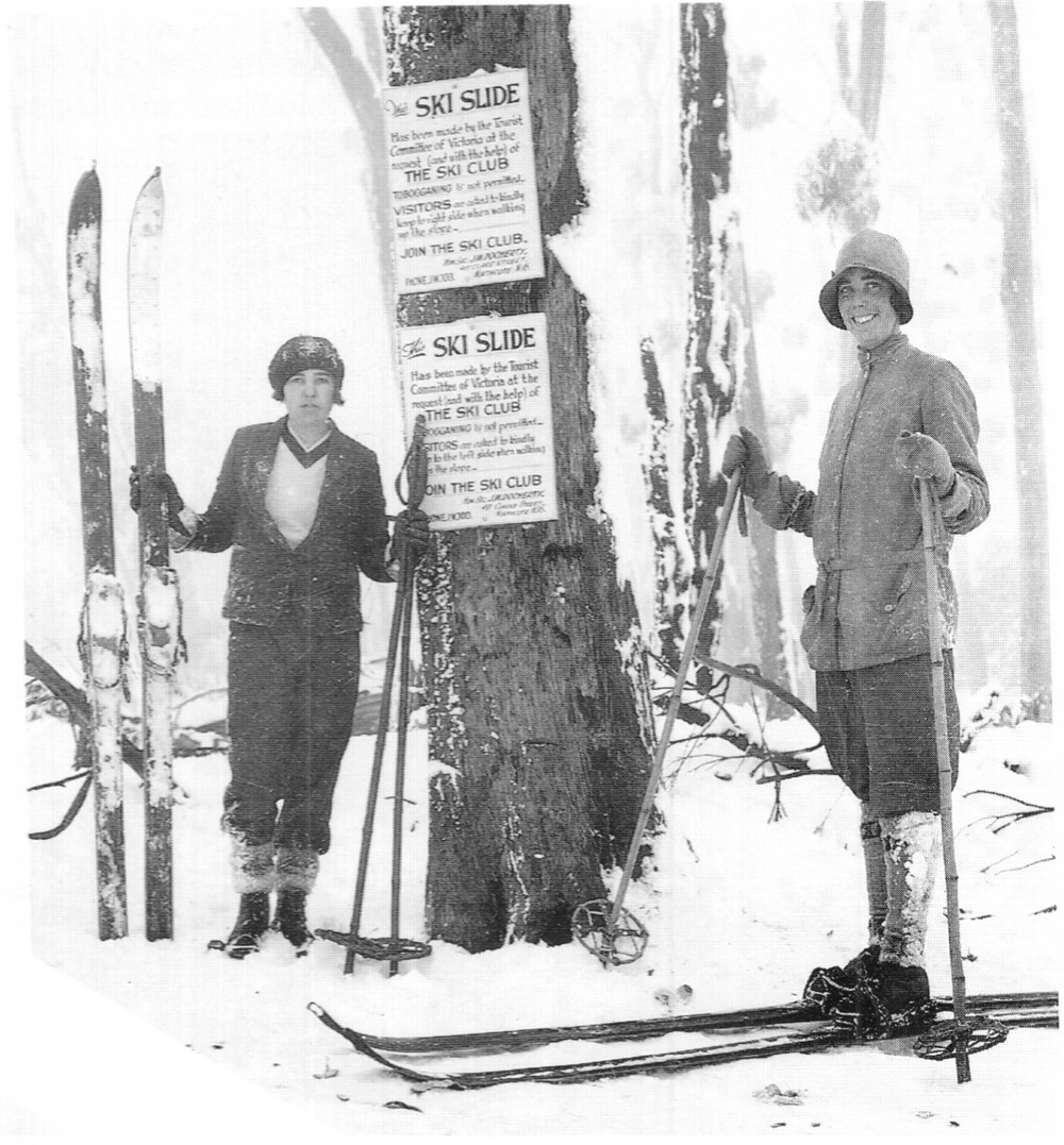 Betty and Peg Nankivell of the University Ski Club at Donna Buang in 1929.