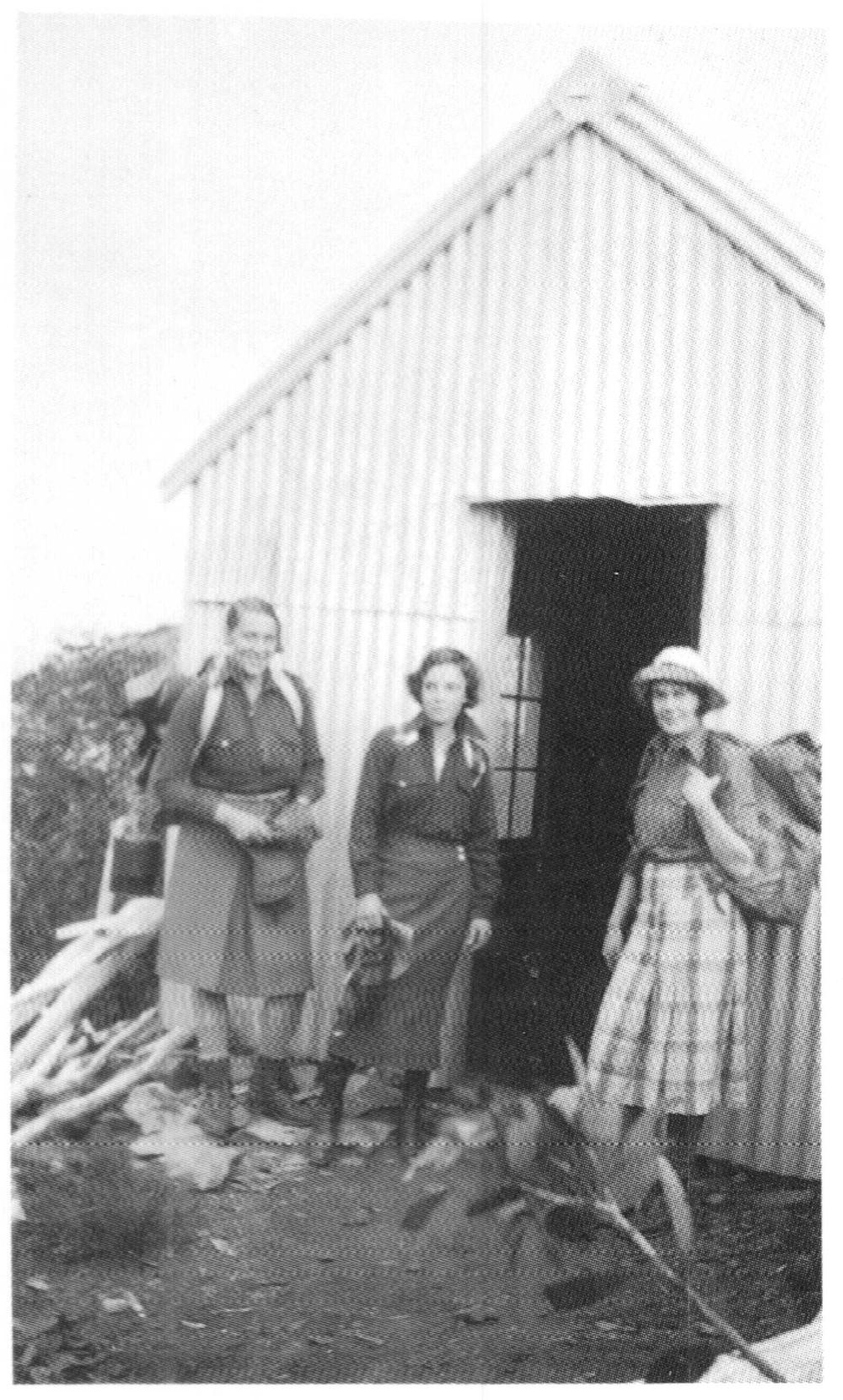 Jeane Gardner, Marjorie Carr, Margaret Pearson at Razorback Hut in December 1932. Rhoda Gardner