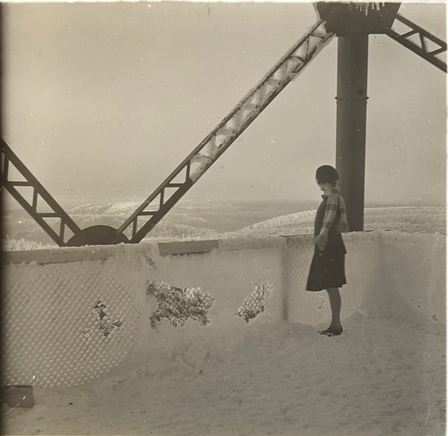'Nancy' on the summit observation tower, 27 July 1929. Photo by Richard Courtney.   Trove record .