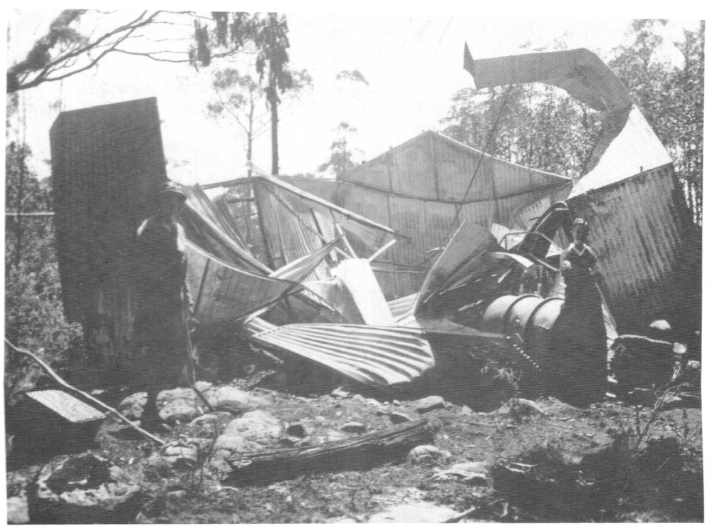The Melbourne Walking Club hut after the 1939 fires. It was rebuilt in 1940 - 1941.