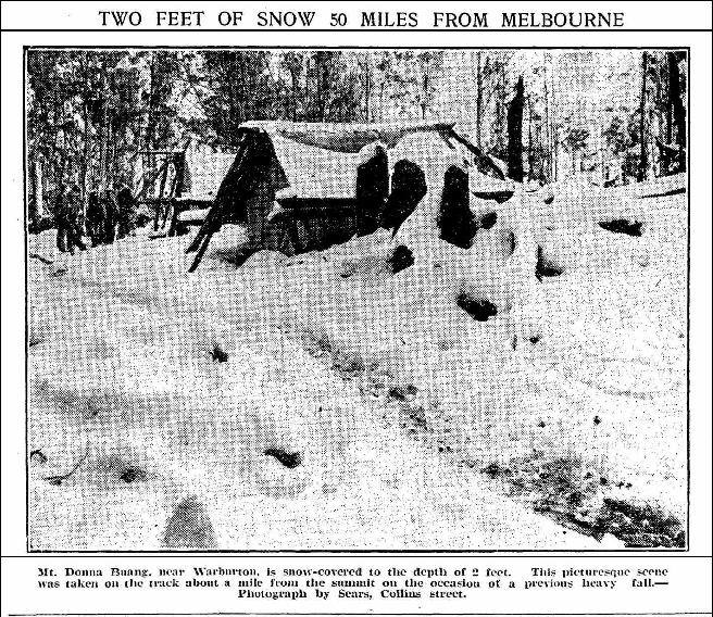 Loggers huts on Donna Buang, winter 1924. Photo Weekly Times.