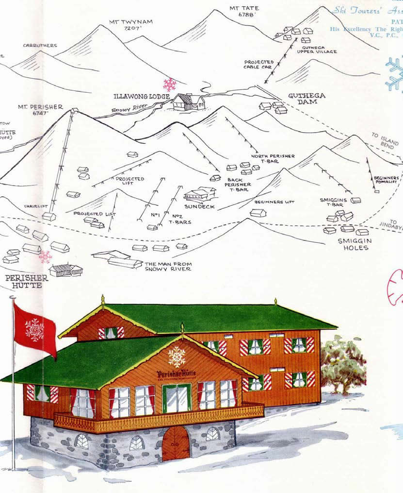 1963 . From a brochure promoting the new Australian Alpine Club lodge.