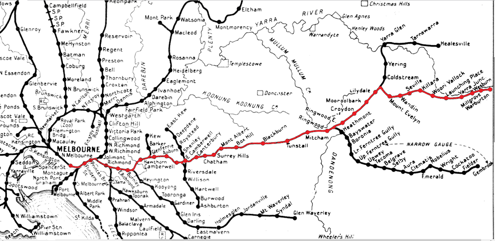 The railway line from Melbourne to Warburton. The 1939 map has been squeezed between the terminus of the electrified suburban system at Lilydale and Warburton in order to fit it on the suburban rail map. At 38 km from the city, Lilydale was exactly halfway to Warburton.