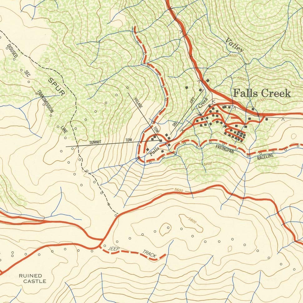 Circa 1965. Extract from a government VicMap of the Bogong High Plains