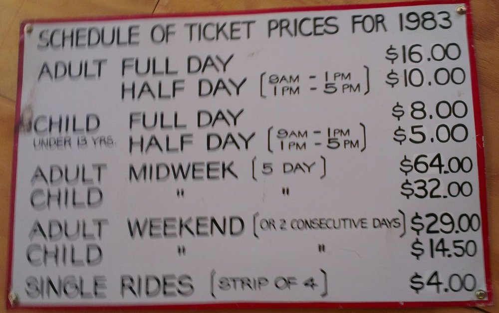 1983 Baw Baw ticket prices. Preserved at Kellys Cafe.