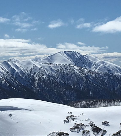 The classic winter view of Mt Feathertop from Mt Hotham ski resort.