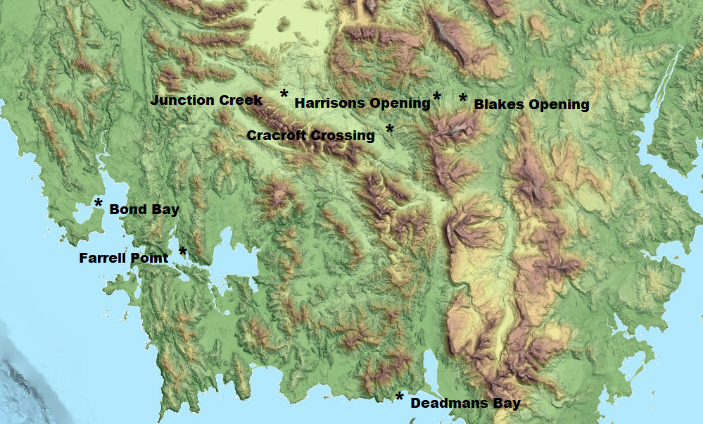 Locations of all seven known three sided shelters.