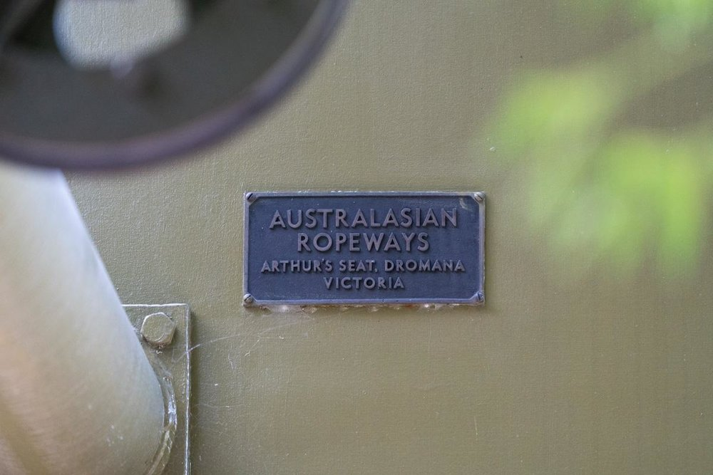Makers plate on the Cataract Gorge chairlift at Launceston. Photo Pascal Hess, 2019.