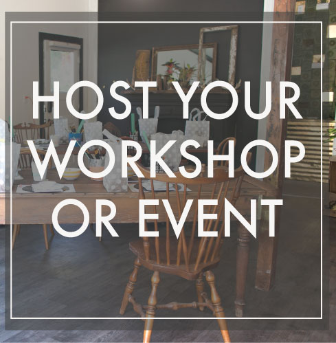 Host your workshop or private event in our  lovely little Studio space. Perfect for small parties and meetings!