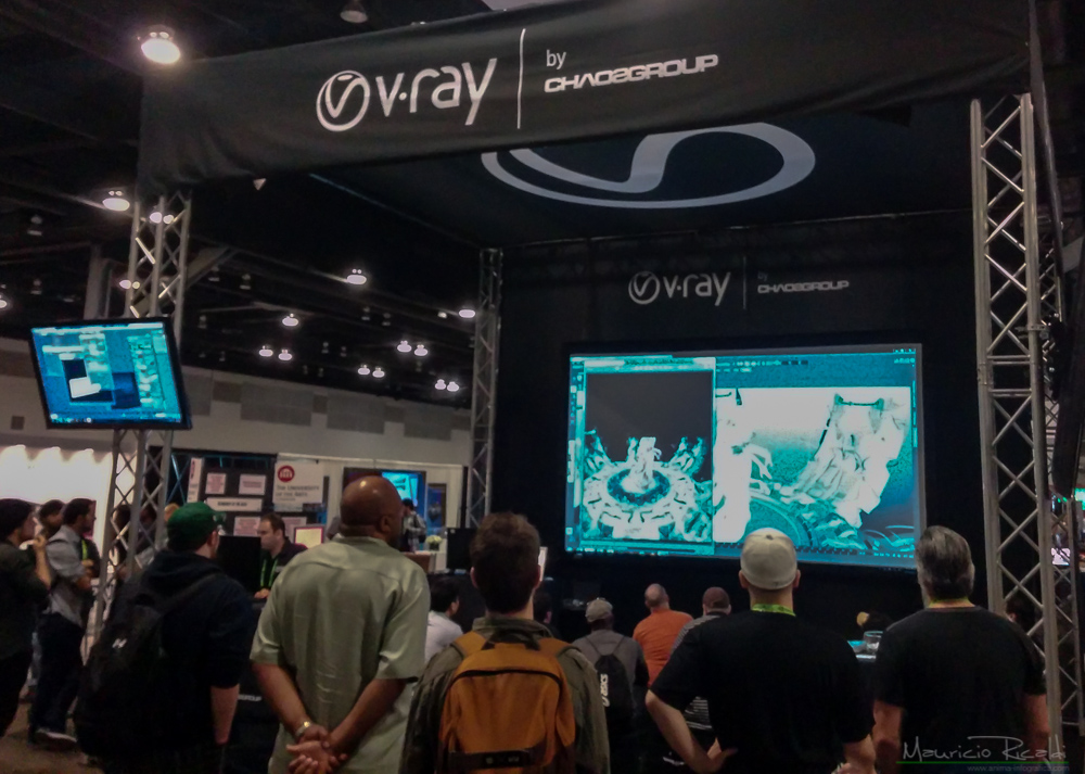 Stand de ChaosGroup, dando una conferencia y tips sobre Vray.